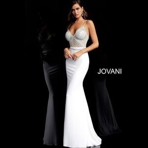 JOVANI 63147 Crystal Beaded Illusion Gown